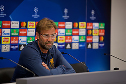 LIVERPOOL, ENGLAND - Monday, May 21, 2018: Liverpool's manager Jürgen Klopp during a press conference at Anfield ahead of the UEFA Champions League Final match between Real Madrid CF and Liverpool FC. (Pic by Paul Greenwood/Propaganda)