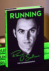 Ronnie O'Sullivan book signing.<br /> In the image - Ronnie O'Sullivan book.<br /> Ronnie O'Sullivan signs copies of Running: The Autobiography, the second instalment, Waterstones, London, United Kingdom. Friday, 11th October 2013. Picture by Nils Jorgensen / i-Images