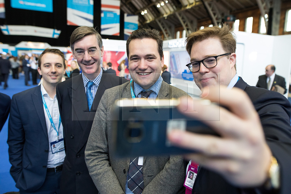 © Licensed to London News Pictures . 02/10/2017. Manchester, UK. JACOB REES-MOGG arrives at the conference and poses for selfies with delegates . The second day of the Conservative Party Conference at the Manchester Central Convention Centre . Photo credit: Joel Goodman/LNP