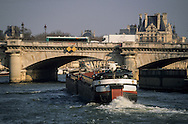 France. Paris. Seine river bridges. The Seine river bridges. quays .view from the boats - bateaux mouches-