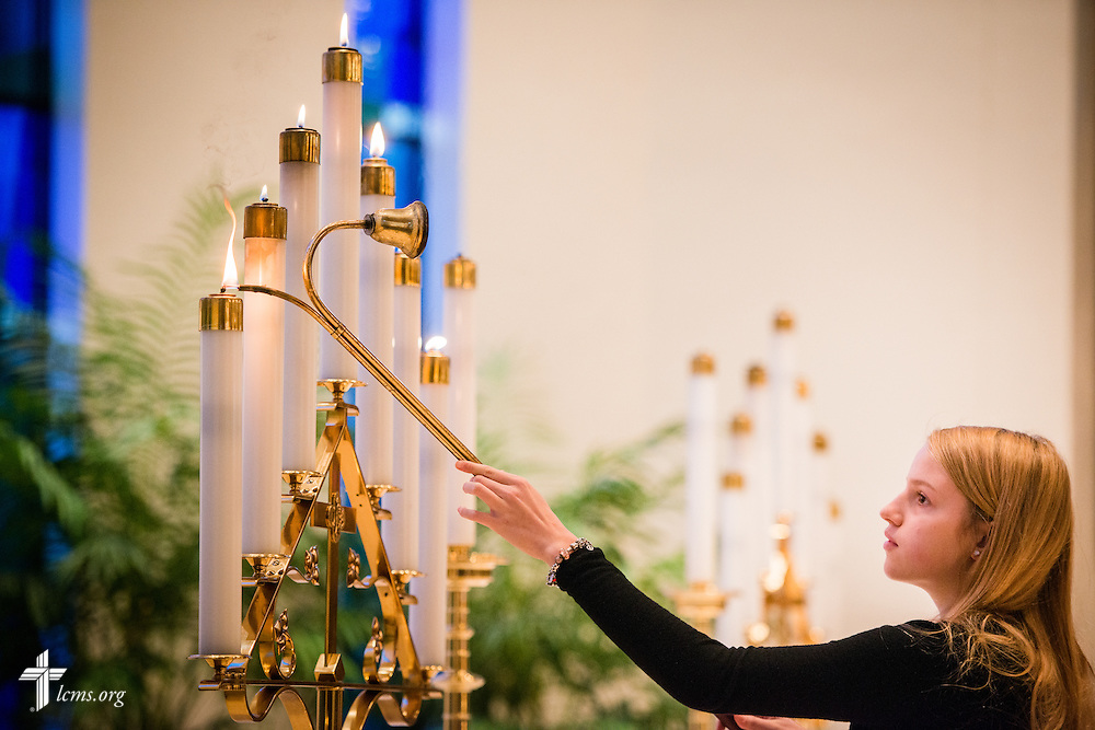 Altar candles are lit for chapel on Friday, Oct. 28, 2016, at First Immanuel Lutheran School in Cedarburg, Wis. LCMS Communications/Erik M. Lunsford