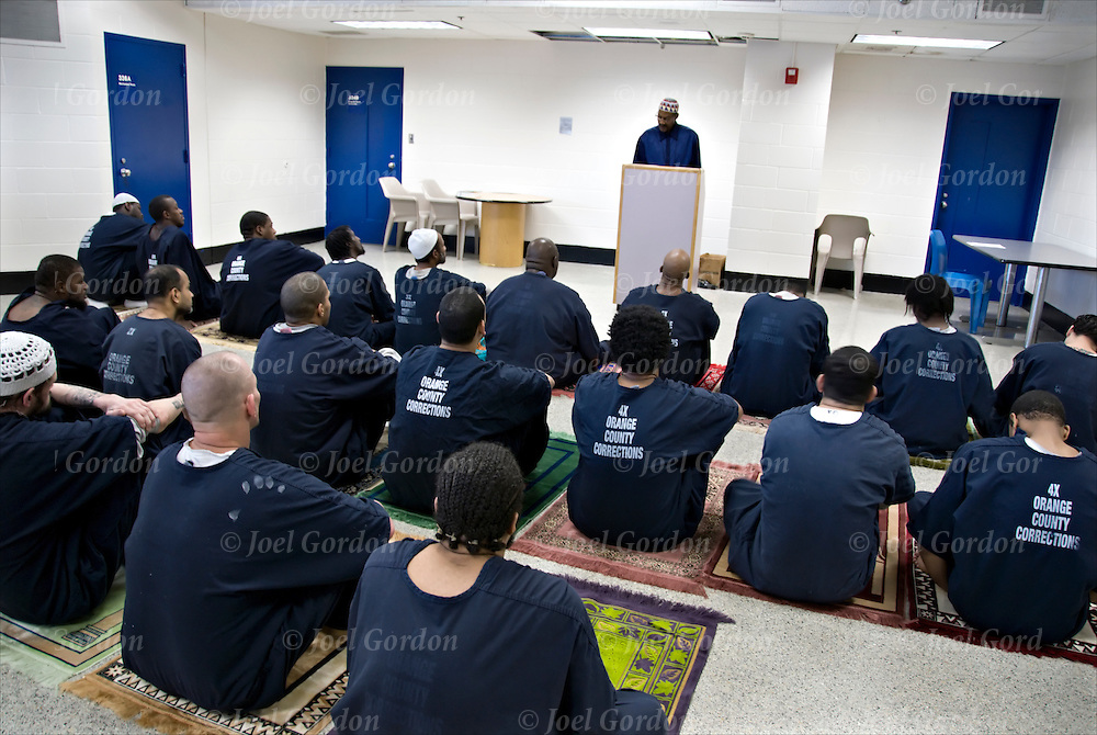 Imam, Chaplain and Prison Outreach Coordinator Fareed M. Rashid in the Islamic Jail Ministry - Friday Prayer - The Jummah Prayer - held on the 3rd floor in the Main Facility.  Congregational Prayer and sermon lead by the Imam we provide Kufis, Prayer Rugs, Quriams and other literature to the inmates.