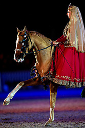 © London News Pictures. 10/05/2012. Windsor, UK. The Karabakh Horse from Azerbaijan performing on The opening night of the Diamond Jubilee Pageant in the private grounds of Windsor Castle, on May 10, 2012. 1200 performers and 600 horses from countries all around the world take part in the Pageant which runs for four nights celebrating 60 years on the throne for Queen Elizabeth II.  Photo credit: Ben Cawthra/LNP