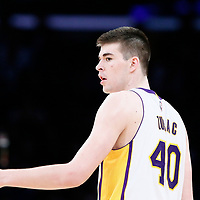 26 March 2016: Los Angeles Lakers center Ivica Zubac (40) is seen during the Portland Trail Blazers 97-81 victory over the Los Angeles Lakers, at the Staples Center, Los Angeles, California, USA.