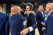 Michele Vitali, Stefano Sardara, Gianmarco Pozzecco<br /> Banco di Sardegna Dinamo Sassari - Umana Reyer Venezia<br /> Finale Zurich Connect Supercoppa LBA 2019<br /> Bari, 22/09/2019<br /> Foto L.Canu / Ciamillo-Castoria