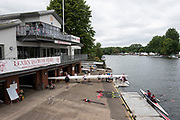 Marlow, Buckinghamshire, United Kingdom, 16th June 2018,  Saturday, Marlow Town Regatta & Festival,  view, Marlow Rowing Club, Boathouse and Clubhouse and Boating area with pontoons, England, 16/06/2018, © Peter SPURRIER,