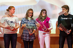 Katja Zof, Anja Benko and  Manca Sepetavc with coach Albert Soba during the Slovenia's Athlete of the year award ceremony by Slovenian Athletics Federation AZS, on November 12, 2008 in Hotel Mons, Ljubljana, Slovenia.(Photo By Vid Ponikvar / Sportida.com) , on November 12, 2010.