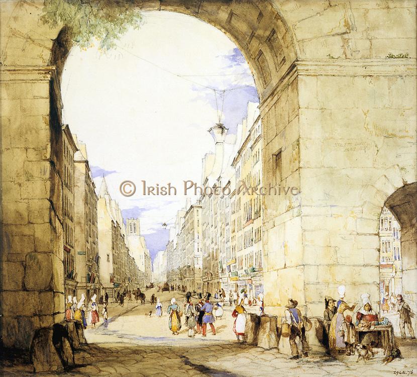 Porte St Martin, Paris', c1830. Street scene viewed through the arch of the Porte St Martin. Watercolour by John Scarlett Davis (1804-c1844) English painter.