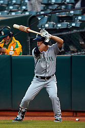OAKLAND, CA - SEPTEMBER 09:  Norichika Aoki #8 of the Seattle Mariners stands on deck before an at bat during the first inning against the Oakland Athletics at the Oakland Coliseum on September 9, 2016 in Oakland, California. The Seattle Mariners defeated the Oakland Athletics 3-2. (Photo by Jason O. Watson/Getty Images) *** Local Caption *** Norichika Aoki