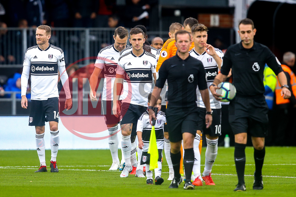 Joe Bryan of Fulham walks out with his teammates to face Burnley at Craven Cottage - Mandatory by-line: Robbie Stephenson/JMP - 26/08/2018 - FOOTBALL - Craven Cottage - Fulham, England - Fulham v Burnley - Premier League