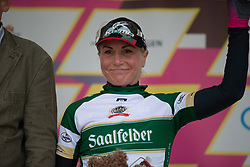 Olga Zabelinskaya (RUS) of BePink Cycling Team celebrates wearing the most active rider's jersey after the prologue of the Lotto Thuringen Ladies Tour - a 6.1 km individual time trial, starting and finishing in Gera on July 12, 2017, in Thuringen, Germany. (Photo by Balint Hamvas/Velofocus.com)