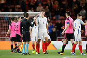 Players and officials  shake hands at full time during the U21 UEFA EURO first qualifying round match between England and Scotland at the Riverside Stadium, Middlesbrough, England on 6 October 2017. Photo by Paul Thompson.