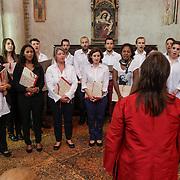 ITA/Parma/20120929- Doop prinses Luisa Irene, binnenzijde Battistero Parma, koor va de universiteit van Parma