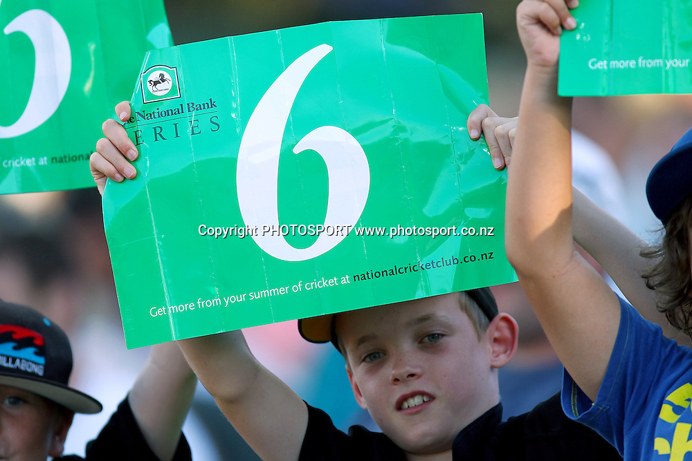 Fans. New Zealand Black Caps v South Africa, International Twenty-20 at Seddon Park, Hamilton, New Zealand. Sunday 19th February 2012. Photo: Anthony Au-Yeung/photosport.co.nz