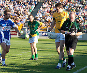 Senior Football Championship Quarter Final Replay. Meath vs Laois 19/6/10.Paddy O`Rourke is led away by Referee Maurice Condon before he receives a red card.Photo: David Mullen /www.cyberimages.net
