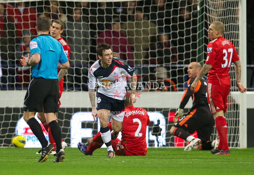 BOLTON, ENGLAND - Saturday, January 21, 2011: Bolton Wanderers' Mark Davies celebrates scoring the first goal against Liverpool during the Premiership match at the Reebok Stadium. (Pic by David Rawcliffe/Propaganda)