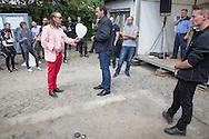 Berlin, Germany - 11.06.2016 <br /> <br /> Public presentation organised by the CG-Group of their Carr&eacute; Sama-Riga new building in Rigaer Street in Berlin-Friedrichshain was accompanied by loud protests. Almost all visitors criticized the project. Instead of the announced project presentation there were loud discussions and disturbances. <br /> <br /> Die von der CG-Gruppe organisierte oeffentliche Vorstellung ihres Carr&eacute; Sama-Riga Neubauprojekt in der Rigaer Strasse in Berlin-Friedrichshain wurde von Protesten begleitet. Fast alle Besucher standen dem Projekt offenbar kritisch gegenueber. Statt der angekuendigten Projektvorstellung kam es daher zu lauten Diskussionen und Stoerungen. <br /> <br /> Photo: Bjoern Kietzmann