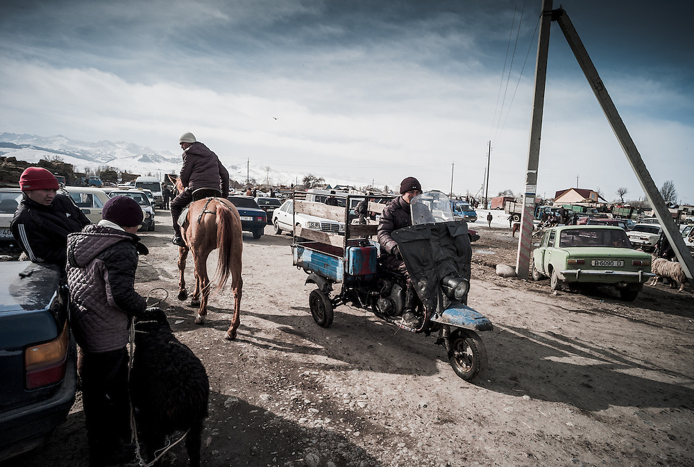 The weekly animal market in Karakol, Kyrgyzstan.