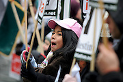 London 04/01/09: Protests outside the Israeli Embassy in London UK:  A young girl joins in the protest