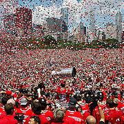 Chicago Blackhawks center Dave Bolland (36) hoists the Cup on Friday, June 28, 2013 during the Stanley Cup celebration rally. (Brian Cassella/Chicago Tribune)  B583025094Z.1 <br /> ....OUTSIDE TRIBUNE CO.- NO MAGS,  NO SALES, NO INTERNET, NO TV, CHICAGO OUT, NO DIGITAL MANIPULATION...