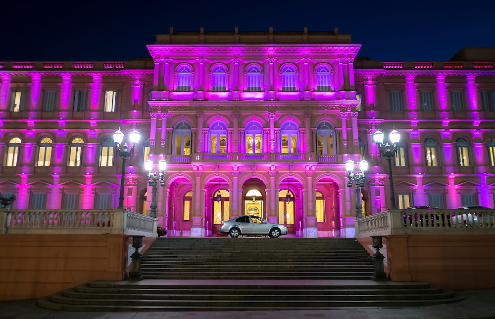 View of the entrance the Pink House, Casa Rosada, in Buenos Aires Argentina. this is the Goverment House of Argentina