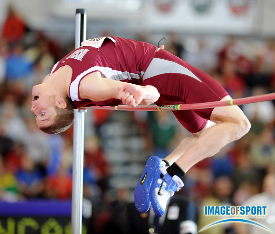 Mar 15, 2008; Fayetteville, AR, USA; Trent Arrivey of Washington State competes in the high jump in the NCAA indoor track and field championships at the Randal Tyson Center.