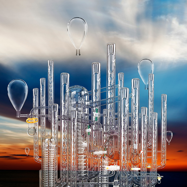 Digital illustration of a futuristic city made from organic chemistry glassware.