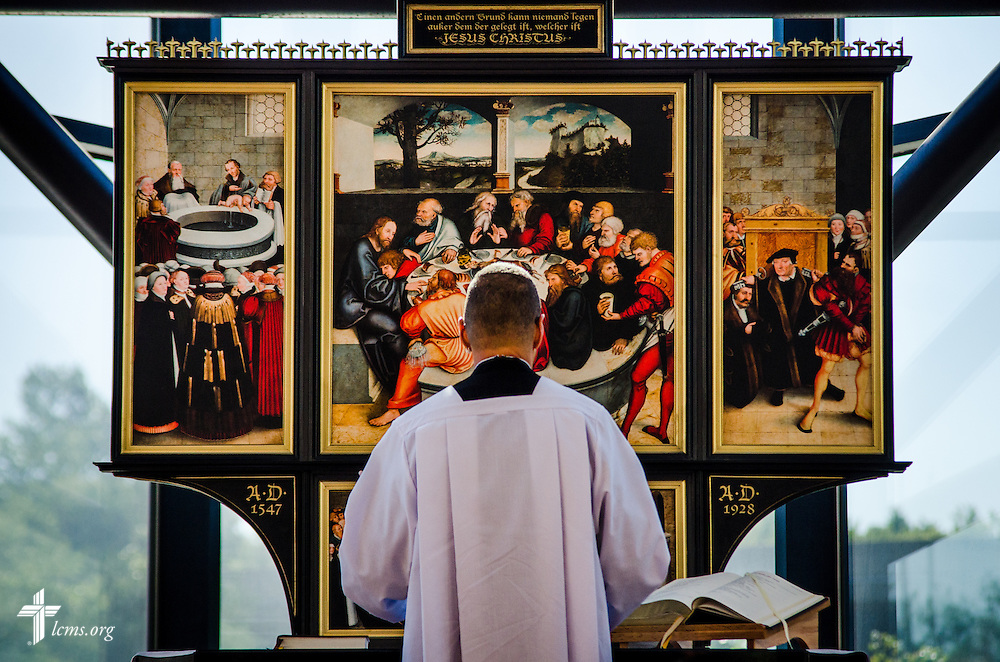 The Rev. William C. Weedon leads Matins on Sept. 19, 2016, during the chapel service in which the replica of the Reformation Altar piece was blessed. LCMS Communications/Frank Kohn