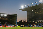 Burnley defend a goal kick s the sky darkens during the EFL Cup match between Burnley and Sunderland at Turf Moor, Burnley, England on 28 August 2019.