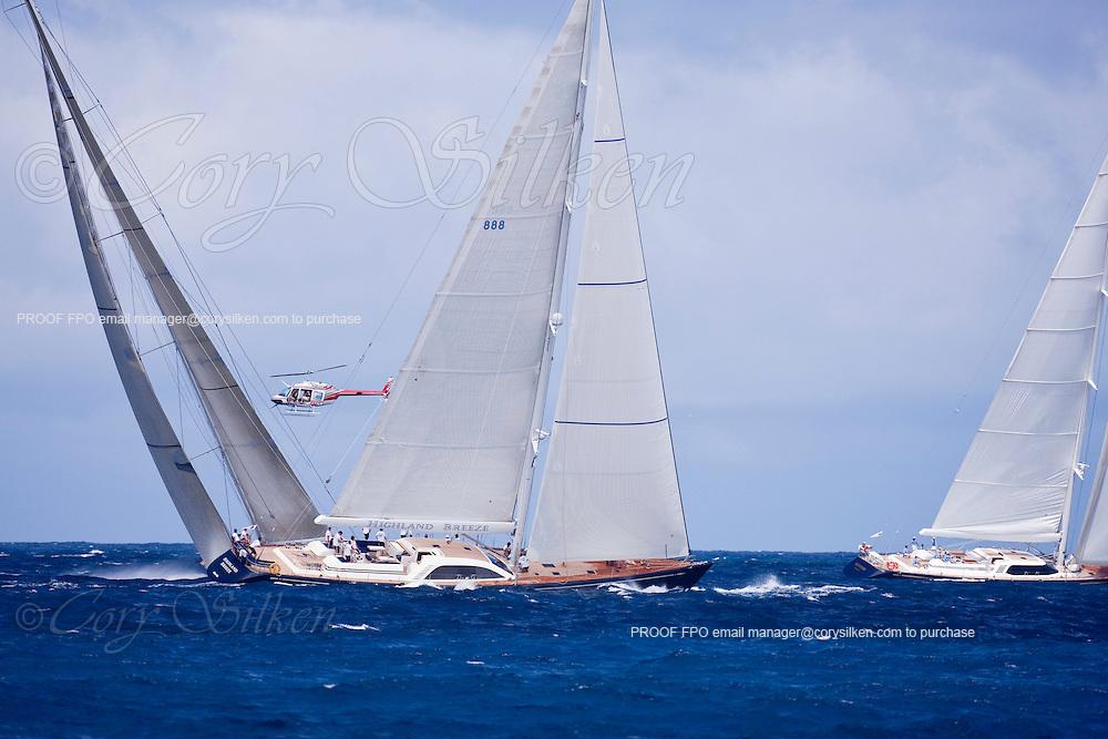 Highland Breeze sailing in the 2010 St. Barth's Bucket superyacht regatta, race 2.