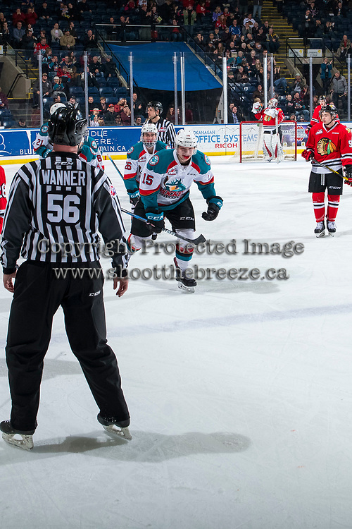 KELOWNA, CANADA - MARCH 3: Liam Kindree #26 and Dallon Wilton #15 of the Kelowna Rockets celebrate a goal against the Portland Winterhawks on March 3, 2019 at Prospera Place in Kelowna, British Columbia, Canada.  (Photo by Marissa Baecker/Shoot the Breeze)