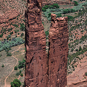 Canyon de Chelly National Monument, located in the northeast corner of Arizona. This rock formation is known as Spider Woman, an important deity in the Navajo culture.