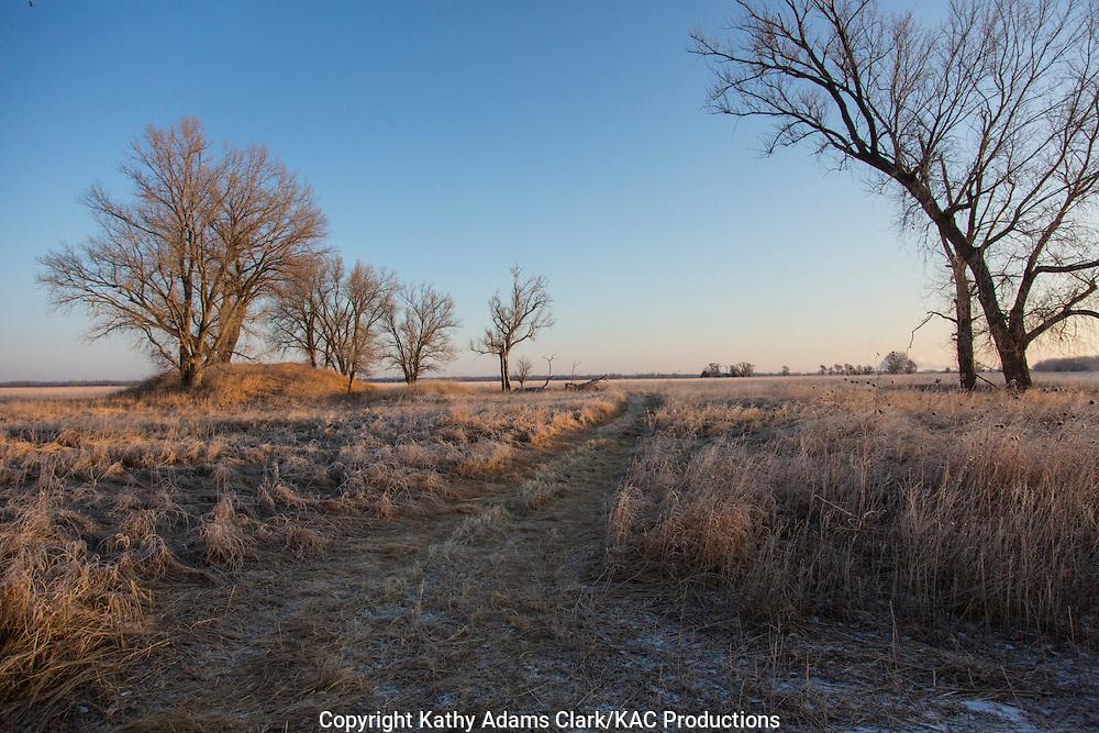 Frosty, winter morning, on the prairie, along the Platte River, near Grand Island, Nebraska.