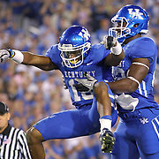 Sept. 11, 2010 - Lexington, Kentucky, USA -  University of Kentucky's RANDALL COBB, left, celebrated his kick-off return touchdown in the first half with teammate ANTHONY KENDRICK as the University of Kentucky played Western Kentucky University at Commonwealth Stadium. Kentucky won the game, 63-28. (Credit image: © David Stephenson/ZUMA Press)