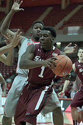 05 January 2014:  Jalen Pendleton gets trapped by John Jones during an NCAA  mens basketball game between the Salukis of Southern Illinois and the Illinois State Redbirds  in Redbird Arena, Normal IL.  Final score ISU 66, SIU 48