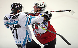 Phillip Lukas of Linz vs Edo Terglav of Briancon at ice hockey match EHC Liwest BW Linz of Austria vs HC DR Briancon of France during Summer league R. Hiti,  on August 29, 2008 in Arena Bled, Bled, Slovenia.  (Photo by Vid Ponikvar / Sportal Images)