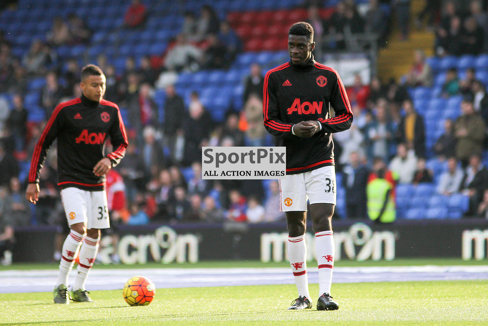 Jesse Lingard and Axel Tuanzebe warm up before Crystal Palace vs Manchester United on Saturday the 31st October 2015.