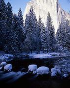 Merced River, El Capitan, El Cap, Sunrise, Sunset, Granite, Climbing, Climber, Rock, Rock Formation, Cliff, Rock Climber, Rock Climbing, Winter, Ice, Snow, Yosemite Valley, Yosemite National Park, California
