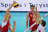 (L) Dmitriy Muserskiy from Russia in action during the 2013 CEV VELUX Volleyball European Championship match between Russia v Slovakia at Ergo Arena in Gdansk on September 24, 2013.<br /> <br /> Poland, Gdansk, September 24, 2013<br /> <br /> Picture also available in RAW (NEF) or TIFF format on special request.<br /> <br /> For editorial use only. Any commercial or promotional use requires permission.<br /> <br /> Mandatory credit:<br /> Photo by © Adam Nurkiewicz / Mediasport