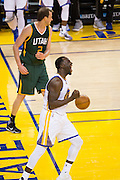 Golden State Warriors forward Draymond Green (23) celebrates a dunk against the Utah Jazz at Oracle Arena in Oakland, Calif., on December 20, 2016. (Stan Olszewski/Special to S.F. Examiner)