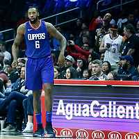 09 December 2017: LA Clippers center DeAndre Jordan (6) waits to enter the game during the LA Clippers 113-112 victory over the Washington Wizards, at the Staples Center, Los Angeles, California, USA.