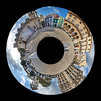 Little Planet View of Plaza de San Francisco. Composite of 31 images taken with a Fuji X-T1 camera and Zeiss 12 mm f/2.8 lens (ISO 200, 12 mm, f/16, 1/125 sec).