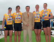 Poznan, POLAND.  2006, FISA, Rowing World Cup GBR W4X, gold medallist with British Ambassador  to Poland, after the  medal presentation at the    'Malta Regatta course;  Poznan POLAND, Sat. 17.06.2006.  left to right Debbie FLOOD, Sarah WINCKLESS, Charle CRAWFORD, Frances HOUGHTON, Katheriine GRAINGER, © Peter Spurrier   ....[Mandatory Credit Peter Spurrier/ Intersport Images] Rowing Course:Malta Rowing Course, Poznan, POLAND