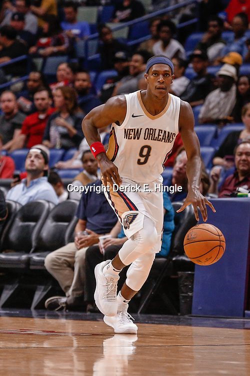 Oct 3, 2017; New Orleans, LA, USA; New Orleans Pelicans guard Rajon Rondo (9) against the Chicago Bulls during a NBA preseason game at the Smoothie King Center. The Bulls defeated the Pelicans 113-109. Mandatory Credit: Derick E. Hingle-USA TODAY Sports