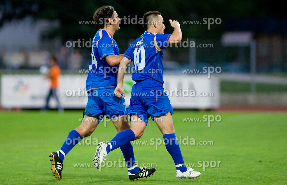 Enes Demirovic and Admir Krsic of Gorica celebrate at 1st football match of 2nd preliminary Round of UEFA Europe League between ND Gorica and FC Lahti, on July 16 2009, in Nova Gorica, Slovenia. (Photo by Vid Ponikvar / Sportida)