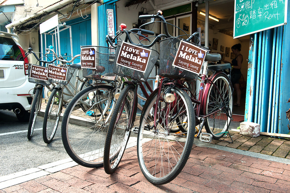 Bicycles for rent at Malacca