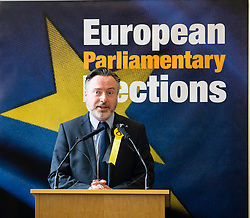 Edinburgh, Scotland, UK. 27 May, 2019. The six new Scottish MEPs are declared at the City Chambers in Edinburgh, SNP's Alyn Smith, Christian Allard and Aileen McLeod, Louis Stedman-Bruce from the Brexit Party, Sheila Ritchie of the Liberal Democrats and Baroness Nosheena Mobarik of the Conservatives. Pictured Alyn Smith MEP