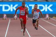 Jonathan Bardottier (Mauritius), Bleu Michael Perez (Guam), 100m Men - Preliminary Round, Heat 3, during the 2019 IAAF World Athletics Championships at Khalifa International Stadium, Doha, Qatar on 27 September 2019.