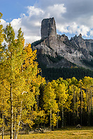 Chimney Rock & Courthouse Mountain in autumn; Owl Creek Pass, Colorado