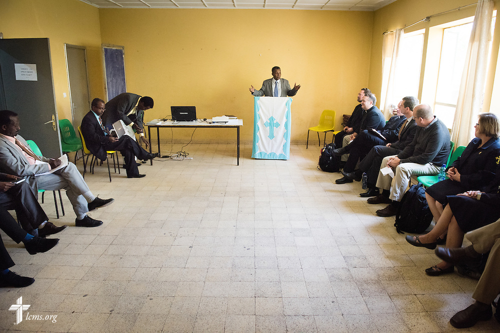 Rev. Dr. Berhanu Ofgaa, general secretary of the Ethiopian Evangelical Church Mekane Yesus, greets the LCMS delegation at Mekane Yesus Seminary on Monday, Nov. 10, 2014 in Addis Ababa, Ethiopia. LCMS Communications/Erik M. Lunsford